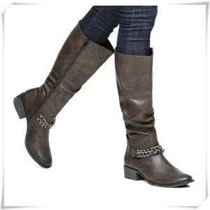 Winter Western Style Slouchy Boots with Chains